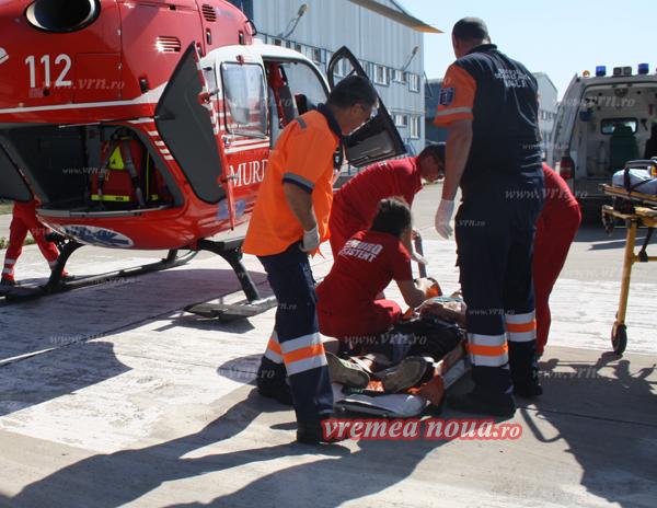 Bãtrân cãzut de la înãltime, dus în stare gravã cu elicopterul la Neurochirurgie Galati!