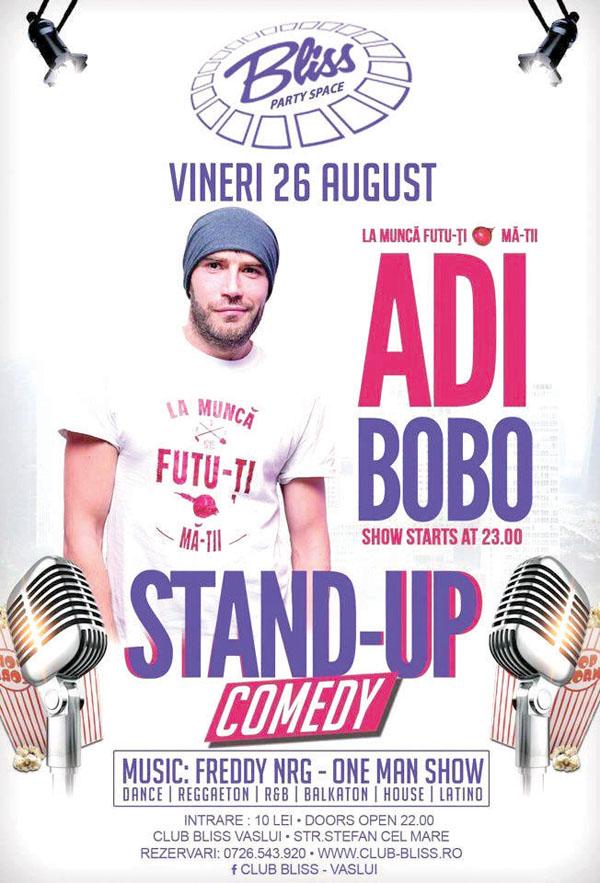 Stand-up comedy, vineri, cu Adi Bobo