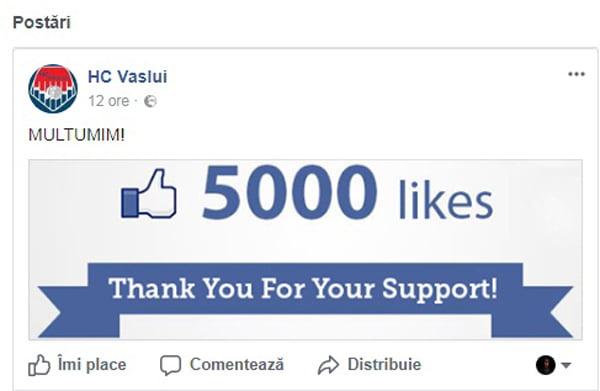 HC Vaslui a bifat cota 5000 de aprecieri pe facebook