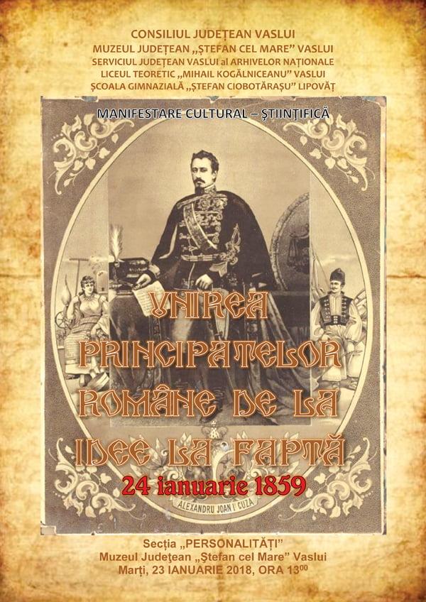 Unirea Principatelor, sãrbãtoritã la Muzeul din Vaslui printr-o manifestare cultural-stiintificã