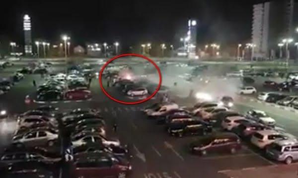 Incendiu în parcarea Shopping City Galaţi