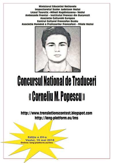 """Concursul National de Traduceri """"Corneliu M. Popescu"""" a ajuns la a XV-a editie"""