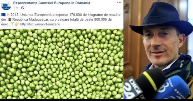 """Mesaj ironic al reprezentanţei Comisiei Europene despre """"mazărea importată de UE din Madagascar"""" în ziua aducerii fostului edil în ţară"""