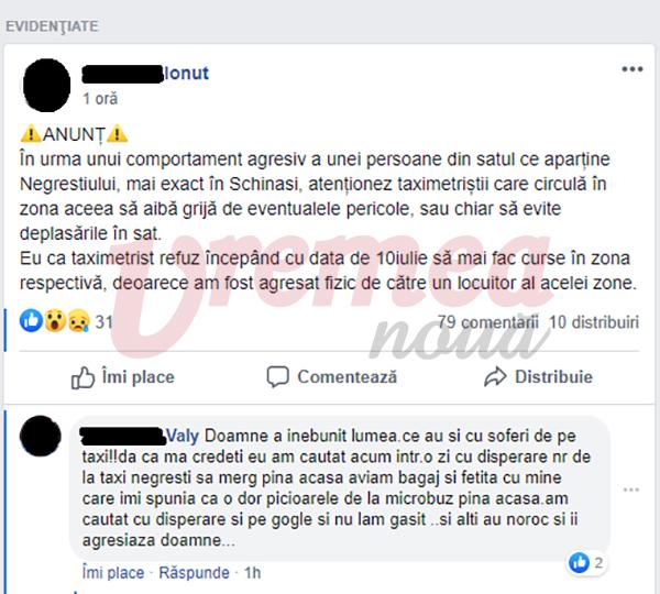 """Conflict la Negrești, un taximetrist a fost bătut de un client: """"de azi nu mai fac curse în zona aia"""""""
